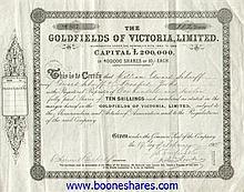 GOLDFIELDS OF VICTORIA, LTD