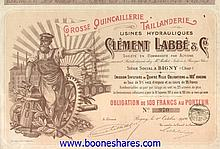 CLEMENT LABBE & CO. - GROSSE QUINCAILLERIE, TAILLANDERIE, USINES HYDRAULIQUES