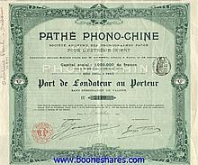 PATHE PHONO-CHINE, S.A. DES PHONOGRAPHES PATHE POUR L'EXTREME-ORIENT