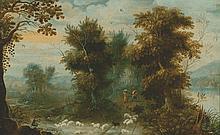 Jasper van der Laanen  (Anvers 1592-1626) Sous-bois longeant une rivière avec un pâtre et ses moutons Huile sur panneau.  Chêne. Parquetage  (Petits manques en bas à droite, petites restaurations) Haut. 27 cm - Larg. 43 cm