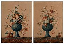 ECOLE FRANCAISE Vers 1800 Bouquet de fleurs avec trois pêches sur un entablement de marbre rouge veiné blanc et bleu. Huile sur toile Haut. 76,5 cm - Larg. 55 cm Bouquet de fleurs avec une poire sur un entablement de marbre rouge Veiné blanc et bleu.