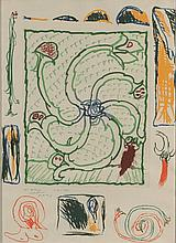 Pierre ALECHINSKY (né en 1927) Composition, 1975 Eau-forte en couleurs, contresignée, datée et dédicacée à pour Albert cordialement 24.1.1975 en bas à gauche. 53 x 74 cm