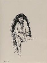 Zoran MUSIC (1909-2005) Autoportrait, 1994 Encre de chine, non signée et datée en bas à gauche 26.1.94. 47 x 34,5 cm