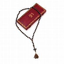 Chapelet Reine de France avec écrin aux armoiries offert par Grégoire XVI (