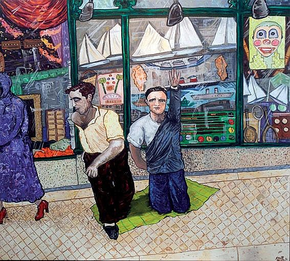 Neary, Scott; oil on canvas Toyshop signed and '96