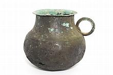 A Chinese globular bronze cooking-pot or Mou with