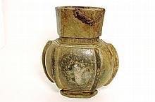 A rare greyish/green steatite altar-vase of