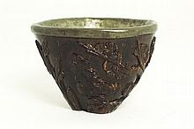 A carved coconut shell, Yezi, wine cup of dark