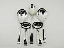 A varyity of silver serving spoons comprising a vegetable spoon, two rice spoons and two sauce spoons ; together with six fidle pattern tea spoons 835 ca 674 gr.