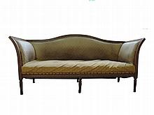 An oak settee upholstered in diamond pattern material 19th Century wide 202 cm.
