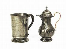 A Victorian pewter quart and a French pewter chocalate jug, 19th Century