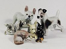 A varyity of six porcelain dog figures