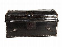 A Spanish brass-studded leather trunk 17th/18th Century