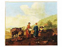 NN oil on canvas  45 x 55 cm.   Figures in an Italian landscape 19th Century