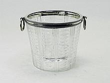 A cut glass ice bucket with silver beaded border with ring handles 835 marked Bonebakker& Zn Amsterdam height 12,5 cm.