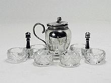 A silver baluster musterd pot with beaded borders: together with three various cut glass salts 835