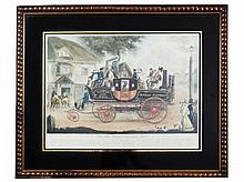 An engraving New Steam Carriage 1826 after G. Morton published by Thos Mc Lean 26 Heymarket London 34,5 x 46 cm. republished by R. Powell Groveroad Brixton