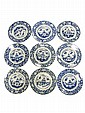 9 porcelain blue and white dishes decorated with a