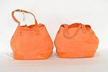 Two Large Matching Orange Handbags