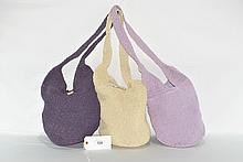 Set of Three Woven Wood Button Purses