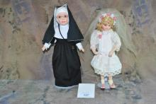LOT OF 2 DOLLS- PORCELAIN NUN AND VTG FLOWER GIRL