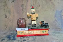 TRICK DOG CAST IRON MECHANICAL COIN BANK REPRODUCT