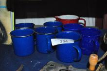 LOT OF EIGHT SPECKLED ENAMELD CAMP CUPS
