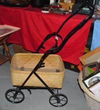 ANTIQUE/VINTAGE BABY STROLLER, WICKER BASKET