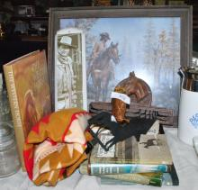 COWBOY LOT FRAMED ART, BOOKS, JOHN WAYNE THERMOMET