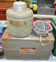 Vintage metal lined ice chest with