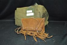 EAST PAK CANVAS MILITARY BAG AND LEATHER