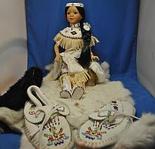 COLLECTIONS ETC PORCELAIN NATIVE AMERICAN DOLL W/