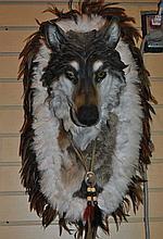 CERAMIC WOLF HEAD & FEATHER WALL DECOR