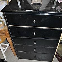 BLACK 5 DRAWER BEDROOM DRESSER