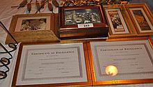 LOT OF PICTURE FRAMES W/ 3D WOLF WOOD BOX