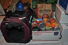 LOT OF CAT & DOG SUPPLIES, CARRIER & ACCESSORIES