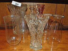 LOT OF GLASS VASES & VINTAGE CANDLE GLASS COVERS