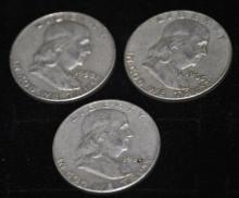 Lot of 3 Silver Franklin Half Dollars 1958-1963