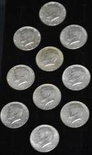 Lot of 10 Silver Kennedy Half Dollars 1965-1968