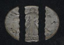 3 way cut and grooved 1934 Silver walking Liberty