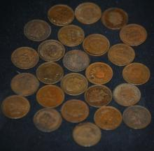Lot of 25 Unsearched Indian Head Pennies