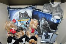 LOT OF WOLF AND DOG PILLOWS & STUFFED ANIMALS