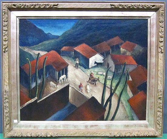 HERING, HARRY (AMERICAN, NY, 1887-1967): Oil on canvas. Mexican village scene. Signed, dated 33 lower right.