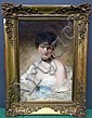 CHEVALLIER TAYLER, ALBERT (BRITISH, 1862-1925): Oil on canvas. Portrait of a coquette. Signed, dated 1883 lower left.