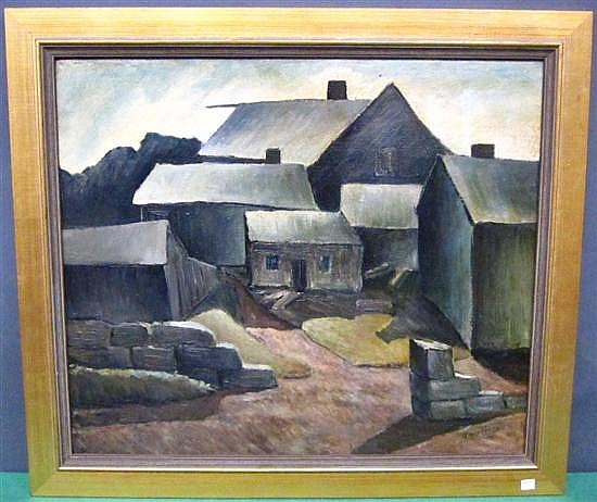 HERING, HARRY (AMERICAN, NY, 1887-1967): Oil on canvas/ board. Farmstead. Signed lower right.