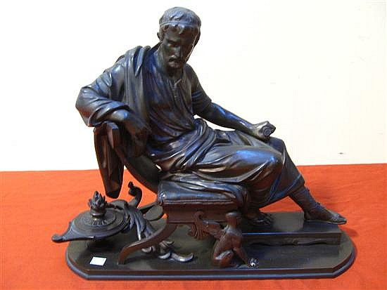 AUBERT, PIERRE (FRENCH, 1853-1912): Cast bronze. Neoclassical philosopher.