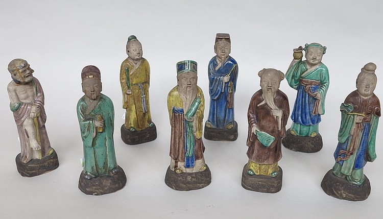 GROUP EIGHT ANTIQUE CHINESE IMMORTAL FIGURES