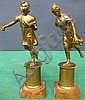 PAIR 19TH C. BRONZE NEOCLASSICAL FIGURES: Female figures in short chitons running. Pedestal bases.
