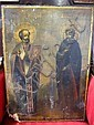 PAINTED WOOD ICON: Depicting two saints, labeled in Russian.