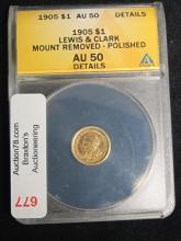 1905 $1 AU50 LEWIS & CLARK MOUNT REMOVED  DETAILS